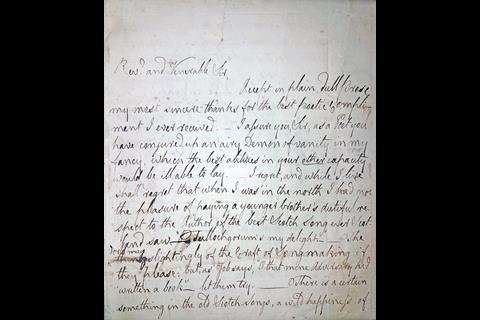 A picture of an original Burns work – a letter he wrote to the Reverend of a church